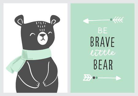 Affiches de pépinière d'ours avec des flèches tribales et la phrase soyez courageux. Pépinière à thème aventure, fête d'anniversaire. Illustrations vectorielles pour invitations, cartes de voeux, affiches