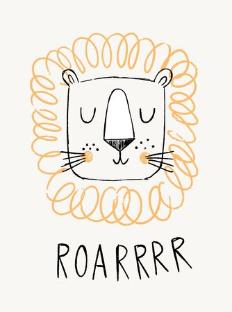 Lion hand drawn illustration vector in doodle style. Cute lion head with word roar. Kids, baby design for cards, poster, nursery wall art, clothing. Scandinavian style. Banque d'images - 137749951