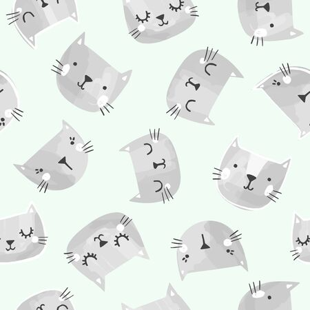 Cat vector pattern with hand drawn painted cat faces. Seamless print illustration for children.