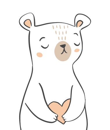 Cute bear character holding a heart. Hand drawn Valentines Day greeting card design, invitation, poster, design for kids clothing.