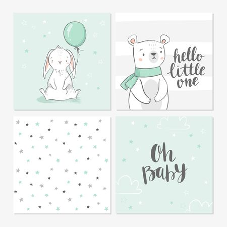 Cute baby shower cards including bunny, bear, balloon, clouds, stars, and modern calligraphy phrases hello little one and oh, baby. Vector illustrations for invitations, greeting cards, posters