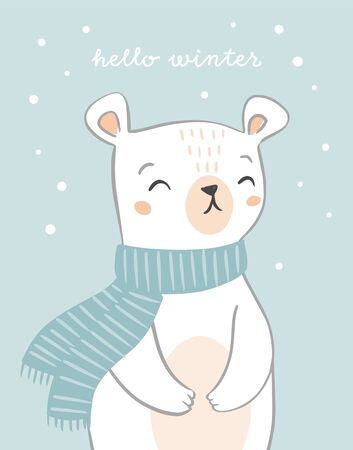 Cute hand drawn polar bear card design with text hello winter. Bear character on snowy background. Holiday Christmas design.