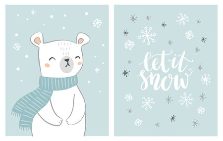 Cute hand drawn polar bear card set with hand written text let is snow on snowy background. Bear character with snowflakes. Christmas design. Foto de archivo - 138469955