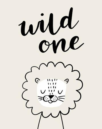 Cute lion in a crown. Wild one brush lettering. Baby lion animal character. Illustration for baby kids poster, nursery wall art, card, invitation, birthday, apparel. Foto de archivo - 138469852
