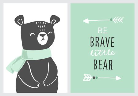 Set of cute nursery posters including bear, tribal arrows and phrase be brave. Adventure theme nursery, birthday party. Vector illustrations for invitations, greeting cards, posters