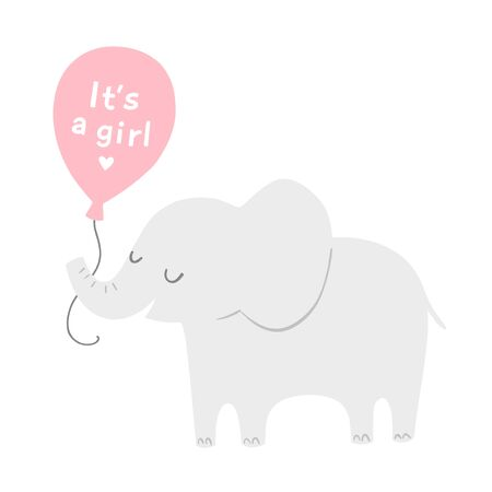 Cartoon elephant with a pink balloon for baby shower invitations or posters. Its a girl. Vector illustration.