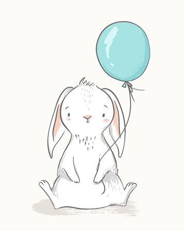 Cute rabbit holding a blue balloon. Childish illustration. Nursery wall art, kids party invitation, birthday greeting card, baby shower, poster.