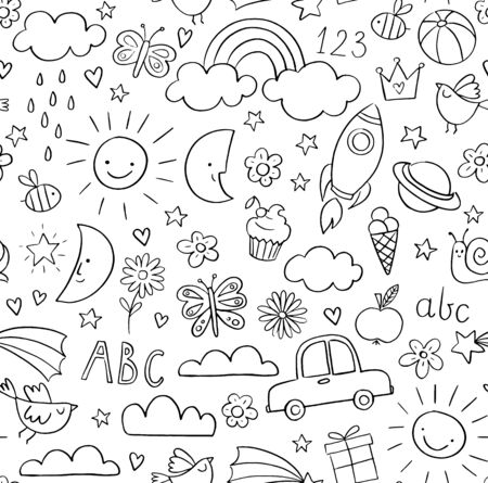 Childrens doodle pattern. Kids pattern in black and white. Baby and children related objects and design elements. Seamless vector background. Archivio Fotografico - 140200447