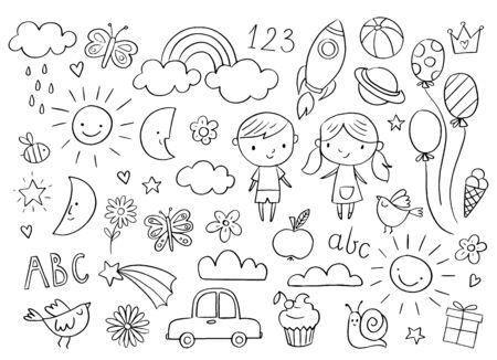 Vector handdrawn niños doodle conjunto. Dibujos para niños sobre fondo blanco. Conjunto de elementos de diseño relacionados con la ducha de bebé.