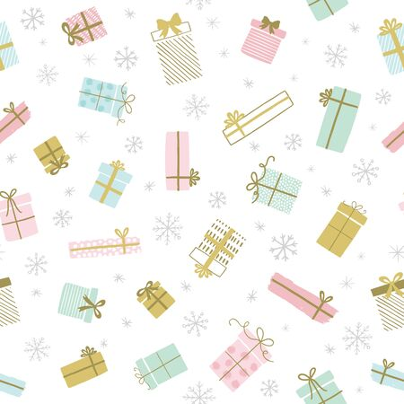 Holiday gift boxes vector pattern in hand drawn doodle style. Seamless background with gift boxes, ribbons. Birthday party. Illustration for greeting cards, invitations, posters.