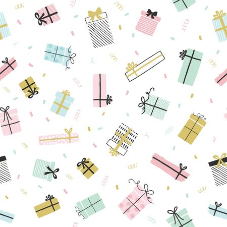 Presents vector pattern in hand drawn doodle style. Seamless background with gift boxes, ribbons. Birthday party. Illustration for greeting cards, invitations, posters.  Ilustracja