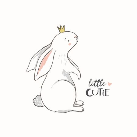 Hand drawn bunny with a crown and little cutie phrase. Rabbit vector illustration. Girl baby shower. Design for baby, kids poster, nursery wall art, card, invitaton. Easter. 일러스트
