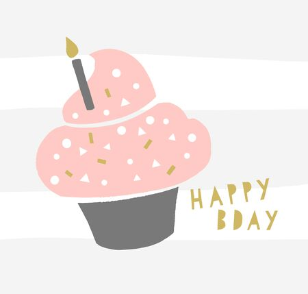Happy Birthday Cupcake Greeting Card design. Trendy cupcake with a candle and geometric sprinkles. Bday hipster poster.