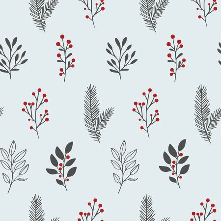Winter floral pattern. Vector seamless background with winter branches and leaves. Hand drawn floral elements. Vintage botanical illustrations.