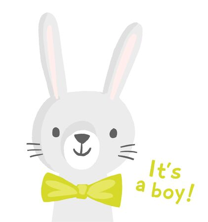 Rabbit character for a boy baby shower invitation, greeting card, birthday party, nursery art poster. Vector illustration of a bunny smiling face with a green bow tie. Its a boy. 矢量图像