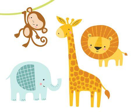 Cute jungle animals set. Vector cartoon with baby lion, elephant, giraffe, monkey. Design for kids graphics, art, posters.