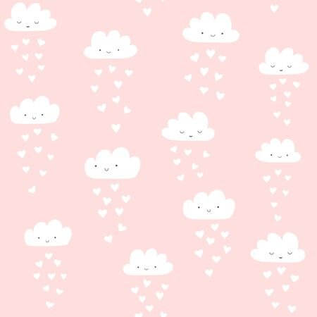 Clouds vector pattern with colorful hearts rain. Cute seamless background for Valentines day. Illustration for babies, kids.