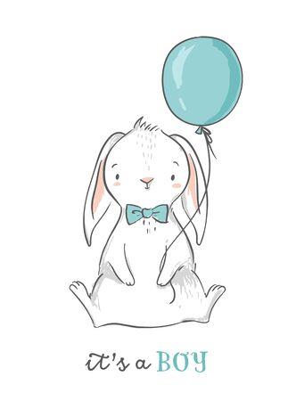 It s a boy baby shower design. Cute bunny holding a blue balloon. Baby shower invitation card. Nursery wall art.