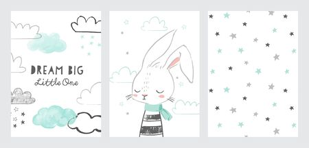 Set of nursery posters or cards. Dream big little one. Cute bunny in hand drawn style with stars. Baby, kids poster, wall art, card, baby shower invitaton.