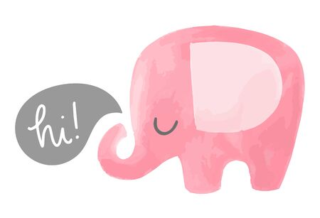 Cute elephant vector illustration with speech bubble saying hi. Hand drawn baby illustration.