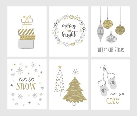 Christmas hand drawn cards with Cchristmas tree, gift boxes, snowflakes, winter wreath. Vector illustration.