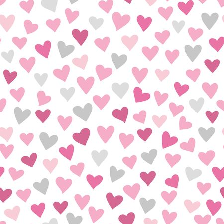 Vector heart pattern. Subtle girly seamless background with hand drawn hearts on pink background.