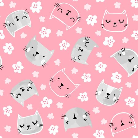 Cute cats vector pattern. Hand drawn kitten heads with smililing faces. Seamless design.