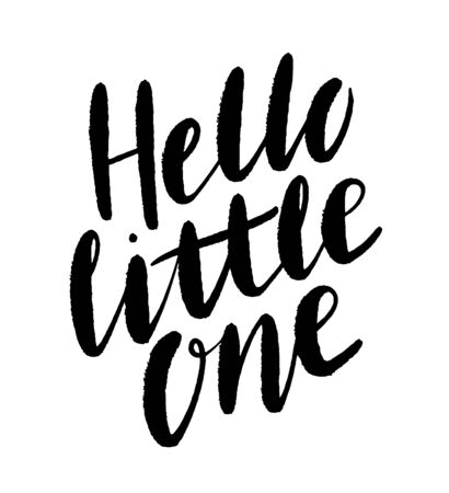 Hand drawn lettering hello little one. Modern calligraphy phrase for baby card, poster, print, decor. Baby shower invitation. 矢量图像