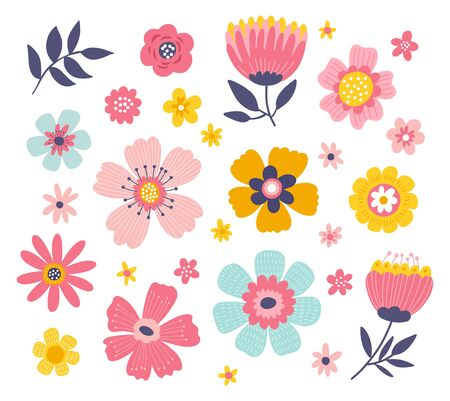 Cute colorful set of vector floral elements. Spring collection of flowers and plants in bright colors.