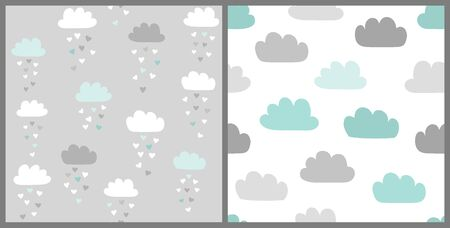 Clouds vector pattern set in scandinavian style. Cute seamless background for Valentines day with clouds and heart rain. Illustration for babies, kids.