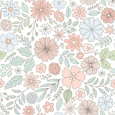 Vector floral pattern in doodle style with flowers and leaves. Feminine, spring floral seamless background in pastel colors.