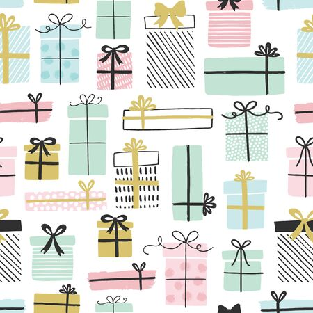 Gift boxes vector pattern in hand drawn doodle style. Seamless background with presents. Birthday party. Illustration for greeting cards, invitations, posters.