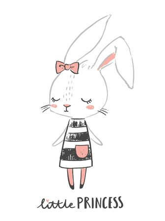 Cute girl rabbit character. Little princess. Hand drawn illustration for nursery wall art. Girl baby shower. Design for baby, kids poster, nursery wall art, card, invitaton.