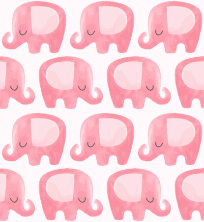 Cute elephant pattern. Seamless vector background with pink cartoon character. Minimal baby or children print design. Girl nursery. 矢量图像