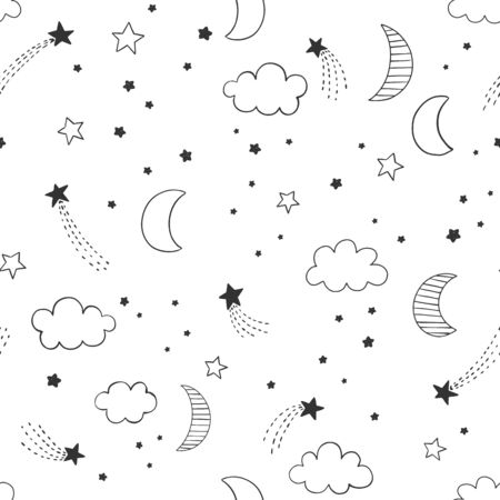 Hand drawn night sky vector pattern with linead doodle moon, stars and clouds. Cute night sky seamless background. 矢量图像