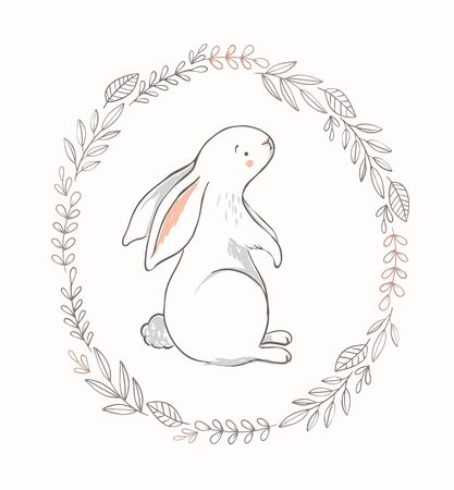 Cute bunny illustration with spring wreath. Hand drawn vector rabbit character for baby girl nursery, easter cards, posters.