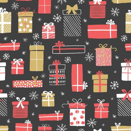 Christmas gift boxes vector pattern with snowflakes. Seamless background with gift boxes. Illustration for greeting cards, invitations, posters.