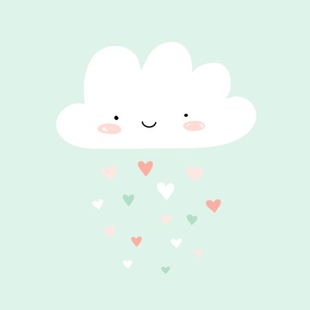 Nursery art with happy smiling cloud and hearts rain. Cute Valentines illustration. 矢量图像