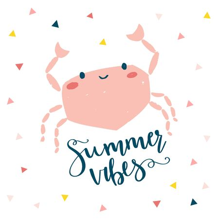 Summer crab vector illustration. Design for cards, posters, clothing. 矢量图像