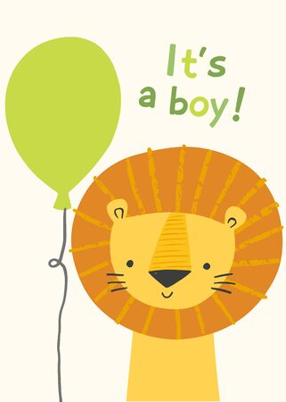 Cute lion character bor a boy baby shower invitation, greeting card, birthday party, nursery art poster. Vector illustration of a lion smiling face with a green balloon. It s a boy. Illusztráció