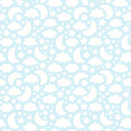 Vector seamless pattern with moon, cloud and stars silhouettes. Cute baby, children background illustration. 矢量图像