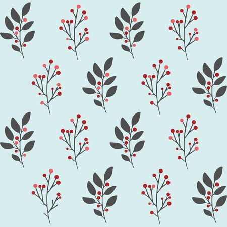 Hand drawn vector winter floral pattern. Seamless background with winter branches and leaves. Hand drawn floral elements. Vintage botanical illustrations.