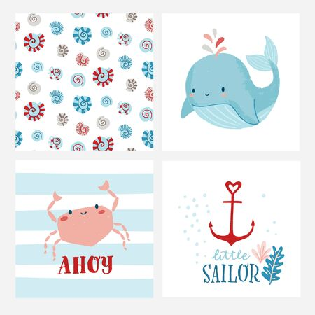 Set of cute cards or posters for nursery, kids room including whale, crab, shell pattern, anchor, phrases ahoy, little sailor. Ocean, marine, nautical themed birthday party, baby shower. Vectores