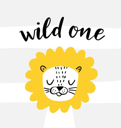 Cute lion and wild one hand lettering on a striped