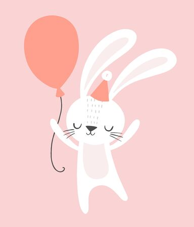 Cute cartoon rabbit with a party hat and a balloon.