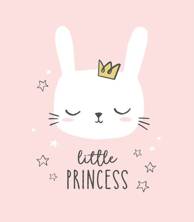 Bunny head vector. Cute hand drawn little princess illustration. Sweet rabbit character with a crown.