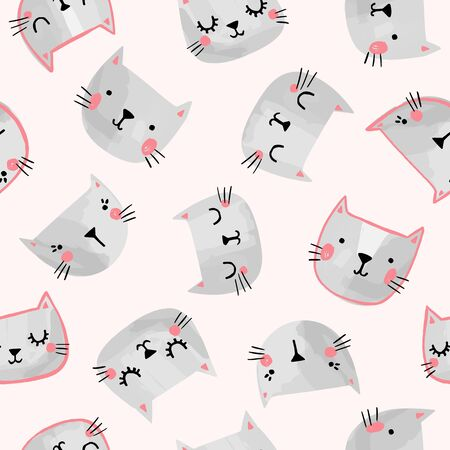 Cute cats vector seamless pattern.