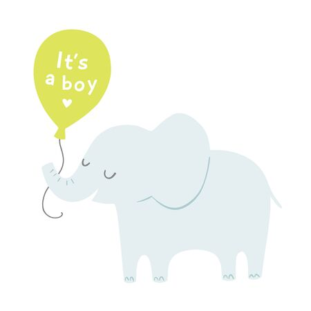 Baby shower its a boy poster or invitation with cute cartoon elephant