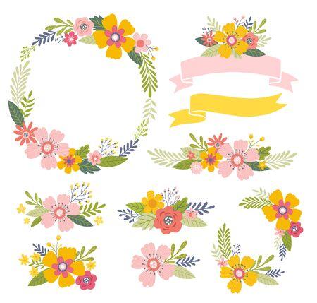 Floral design elements including floral wreath frame