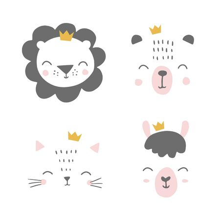 Cute simple animal portraits with crowns - bunny, bear, cat, alpaca, llama, hare. Designs for baby clothes, posters, greeting card. Hand drawn characters. Vector illustration. 矢量图像